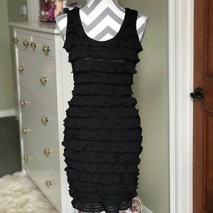 🖤Black ruffle bodycon dress